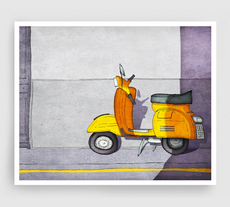 Paris Art Print - Vespa (yellow) - Paris Vespa Illustration Print Paris decor Home decor Nursery art Kids wall art Yellow Paris Poster de tubidu