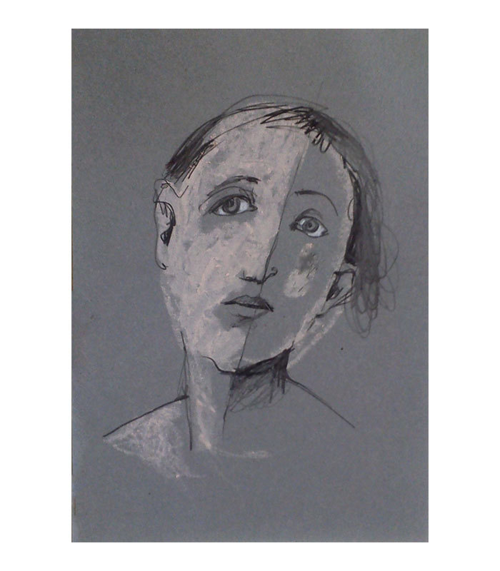 Face on Grey woman original pastel portrait figurative people small de marina826