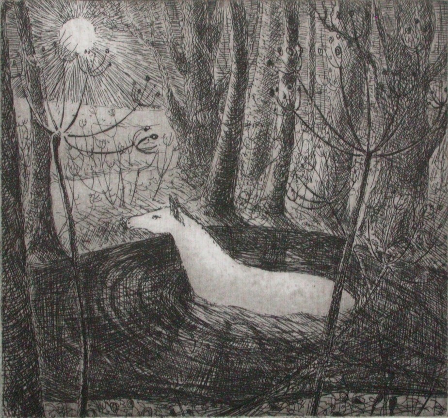 Crossing the water, etching by Flora McLachlan, horse, river, pool, moon, night, passage, transition, travel, trees, seedheads de Foxnest
