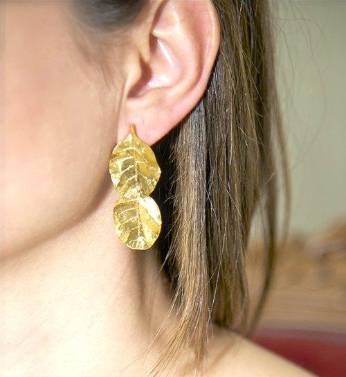 Leaves Earrings Gold Plated Earrings Natural Earrings Botanical Jewelry Bridesmaid Gift Contemporary Greek leaf Earrings Christmas Present de DragatakisJewellery
