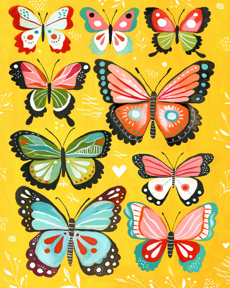 Butterfly Collection art print | Nursery Decor | Colorful painting | Katie Daisy de thewheatfield