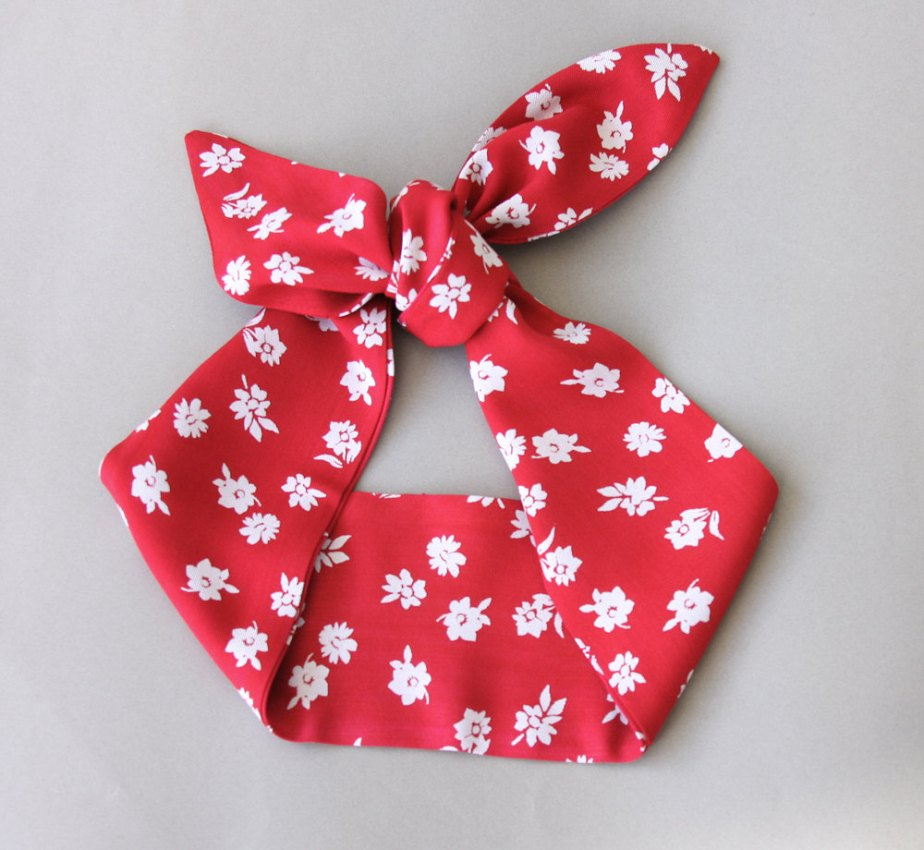 Red Headband floral headband pin up headband adult headband women 50s style rockabilly headband dolly bow head wrap bandana scarf CHERRY de ViolasBoutique