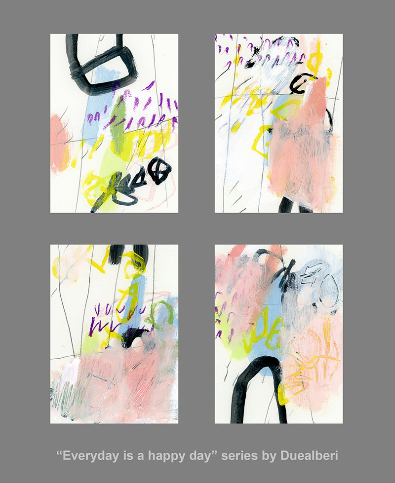 "Set of 4 Small Abstract Paintings Original wall art Acrylic on paper pink and yellow ""Everyday is a happy day"" de DUEALBERI"