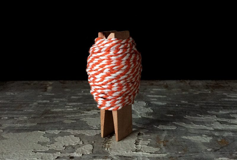 Orange and White Bakers Twine - 25 feet on a chubby clothespin - Thanksgiving, Halloween, gift wrap / wrapping supplies. packaging. de GingersnapPress
