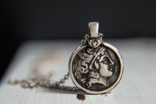 Hermes Sterling Silver Pendant-Ancient Greek Inspired Necklace-Greek God Necklace-Replica Coin Pendant-Greek Coin Jewellery de MarrenJewelry