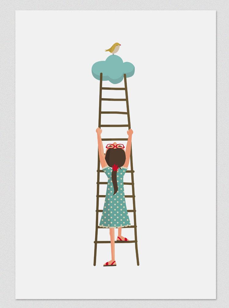 Illustration. Climbing to a Cloud. Print. Wall art. Art decor. Hanging wall. Printed art. Decor home. Gift idea. Sweet home. de Tutticonfetti.