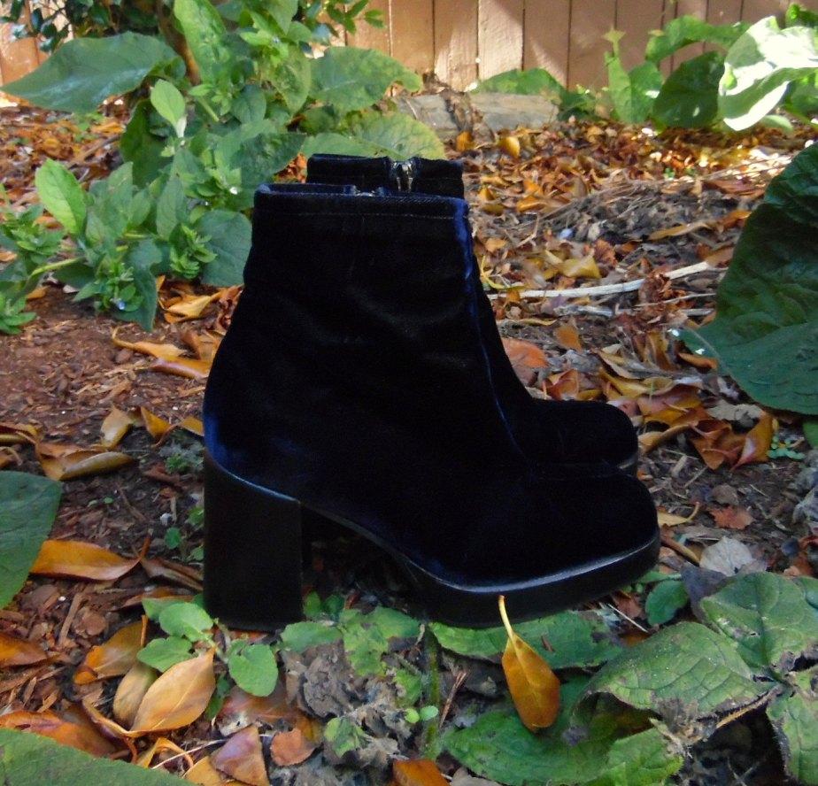 90s Blue Velvet Platform Heel Glam Mod Bowie Boho Ankle Boots Womens 5.5 de evileyevintage