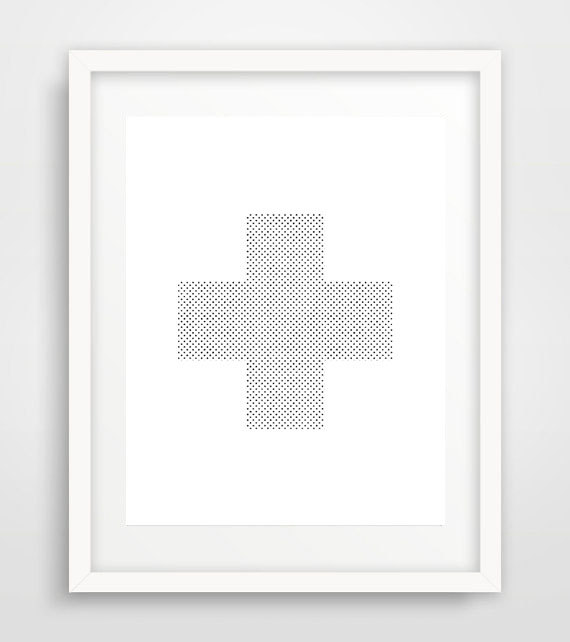 Minimal cross print, cross print, cross wall print, cross poster, grey wall prints, geometric print, minimal art, Scandinavian art de Ikonolexi