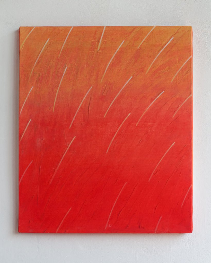 Original Acrylic painting, abstract painting, minimalist art, textured painting. Yellow,red and white artwork. Lines de studioMDart