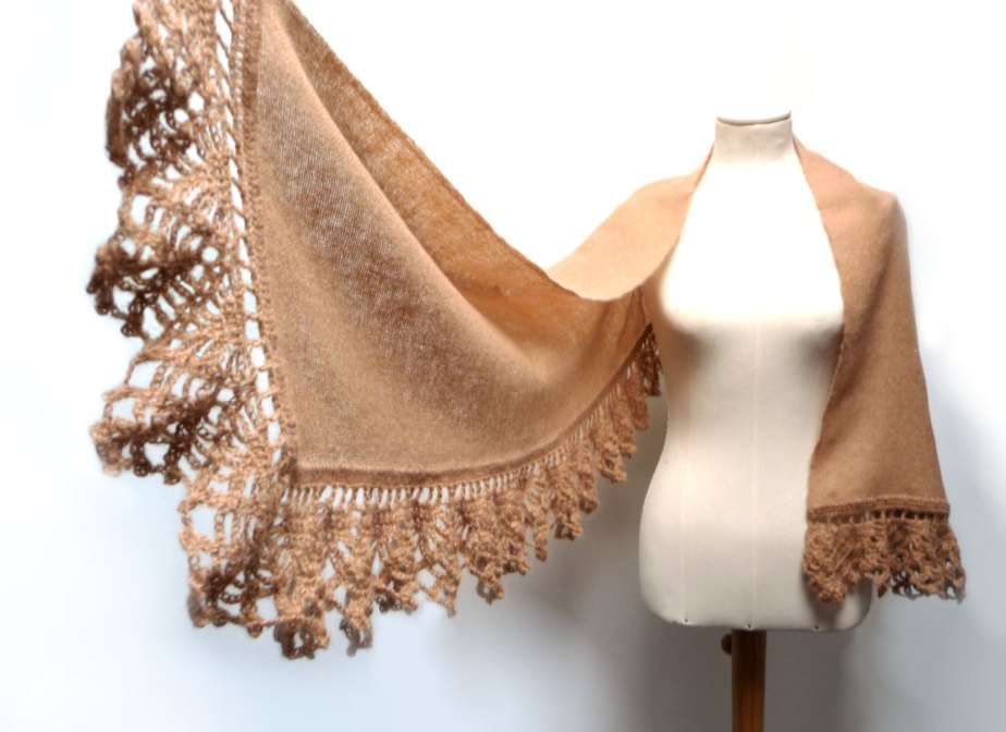 Handwoven and Crochet Shawl Scarf - Beige Camel and Gold Kid Mohair Stole with Crochet Lace Borders de ixela