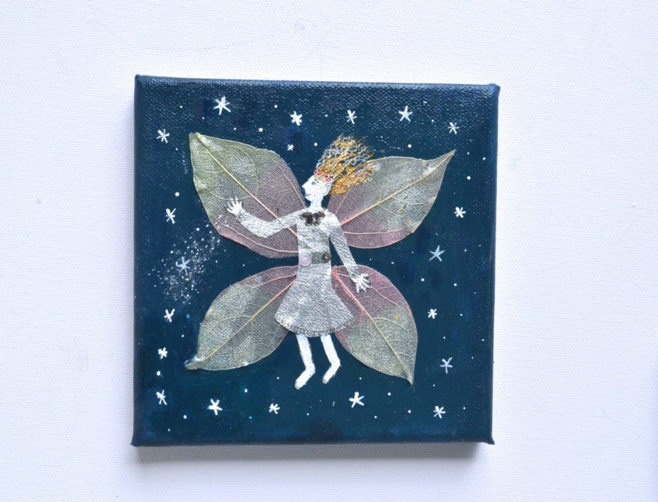 Fairy in Silver Dress, Night Sky stars, Original Painting, Sister gift, Gold Blue Mixed Media, Nursery, Original Fairytale Art, Small Canvas de WishlistArt
