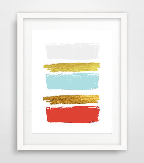 Red Abstract Art Print, Abstract wall print, Paint Strokes Art, Red gold grey print, Abstract Wall Art, Minimal decor, Scandinavian decor de Ikonolexi