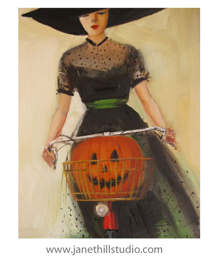 Witchycle. Art Print de janethillstudio