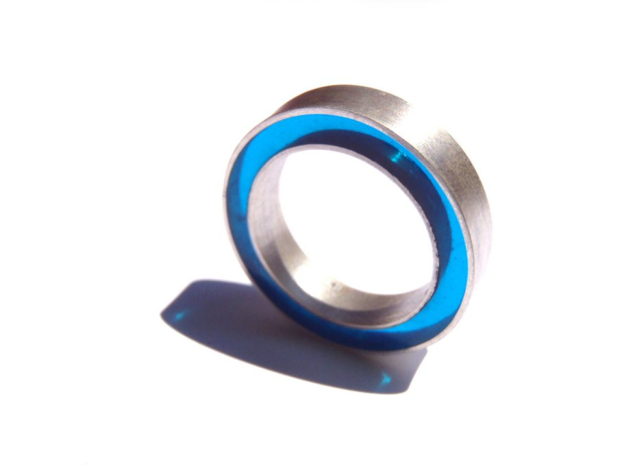 Concentric Ring Big Sizes / Sterling + Resin Ring / Made in your size / Many colors to choose from. de dikua