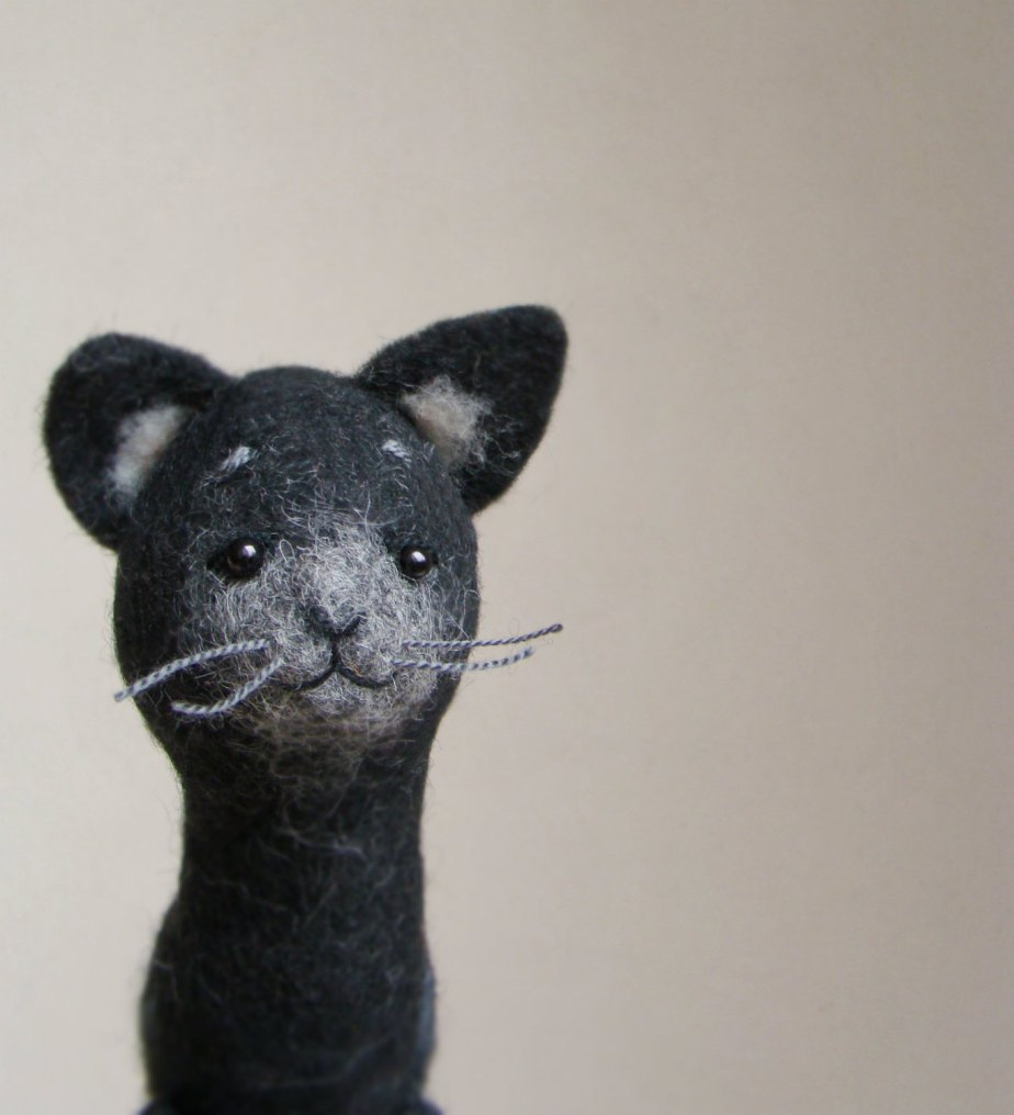 Felt Cat - Felix. Art Puppet, Felted Toy Halloween Gift Stuffed Felt Animal eco friendly Kitten Marionette plush for kids, black, for him. by TwoSadDonkeys