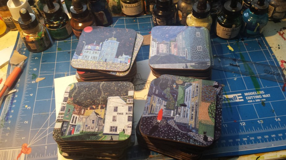 Set of 4 Coasters based on Deal (Kent) paintings by Richard Friend SET A by richardfriend