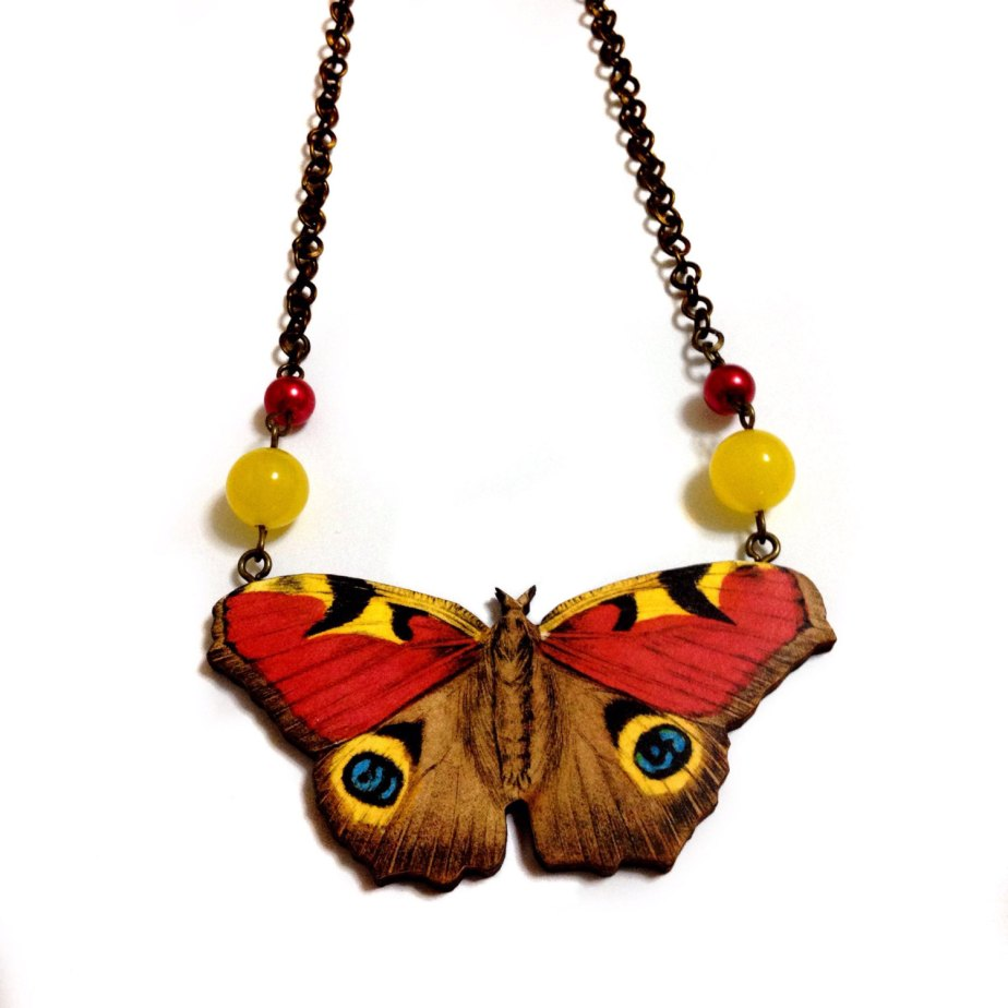 Beautiful night Butterfly-Moth Red Yellow wooden charm pendant, beads, Antique bronze Collar statement necklace- Spring Summer Gift by XenaStyle