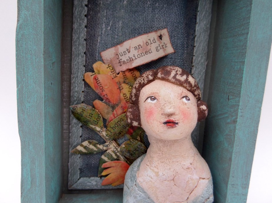 Original Mixed media shadow box collage painting sculpture assemblage Art by JanetHarrisonArt