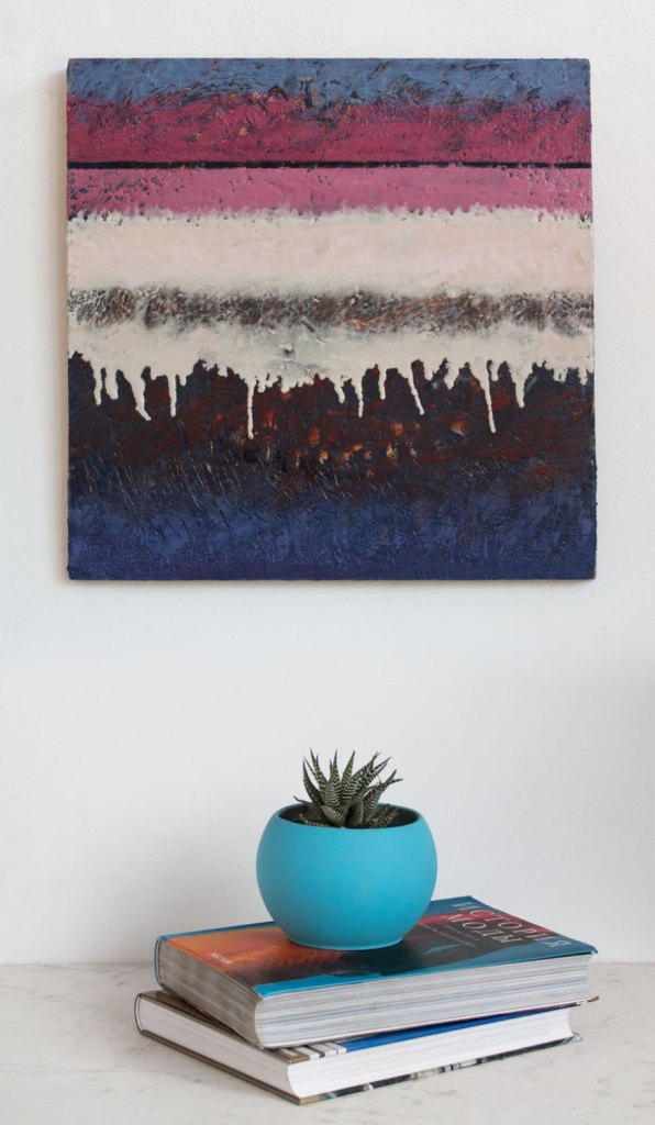 Original painting Encaustic Art Encaustic painting Abstract Textured painting. Pink,blue, white artwork by studioMDart