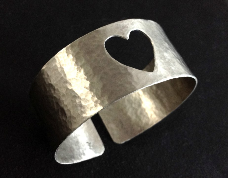 Wide Hammered Silver Cuff Bangle Cut out Open Βand Cuff Βracelet Adjustable Handcrafted Metalwork Handmade Greek Jewelry Gift For Her by PlanetEarthHandmade