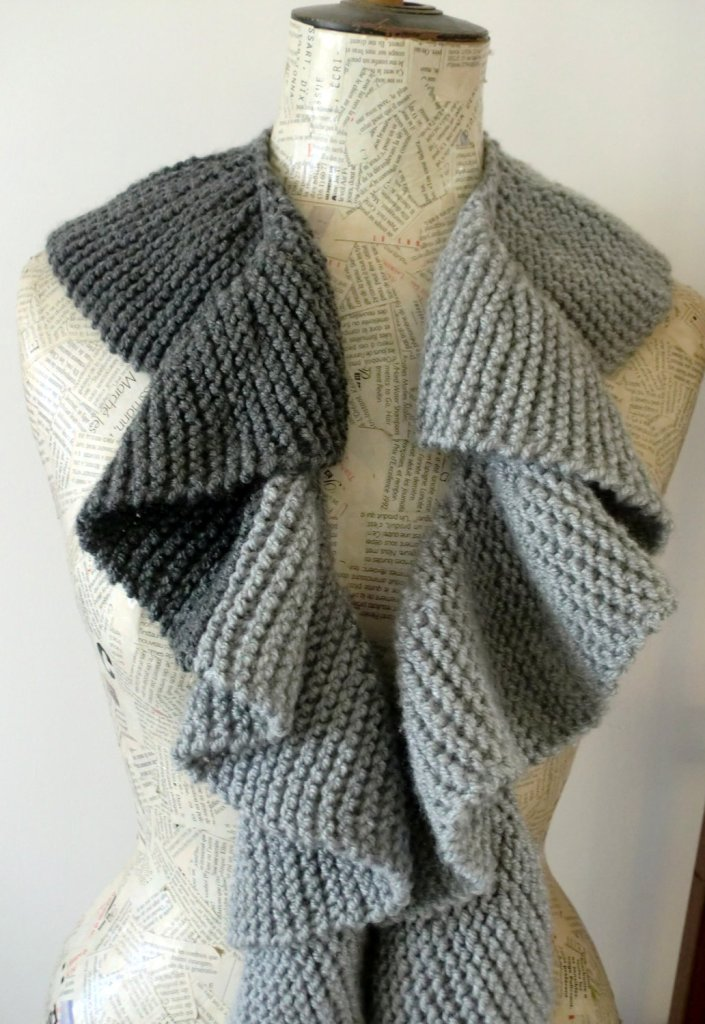 Curly Gray Scarf-Handmade knitting scarf-Gray skies- Dark Gray Light Gray--- unisex-gift for her and him-Autumn by AnnaLela