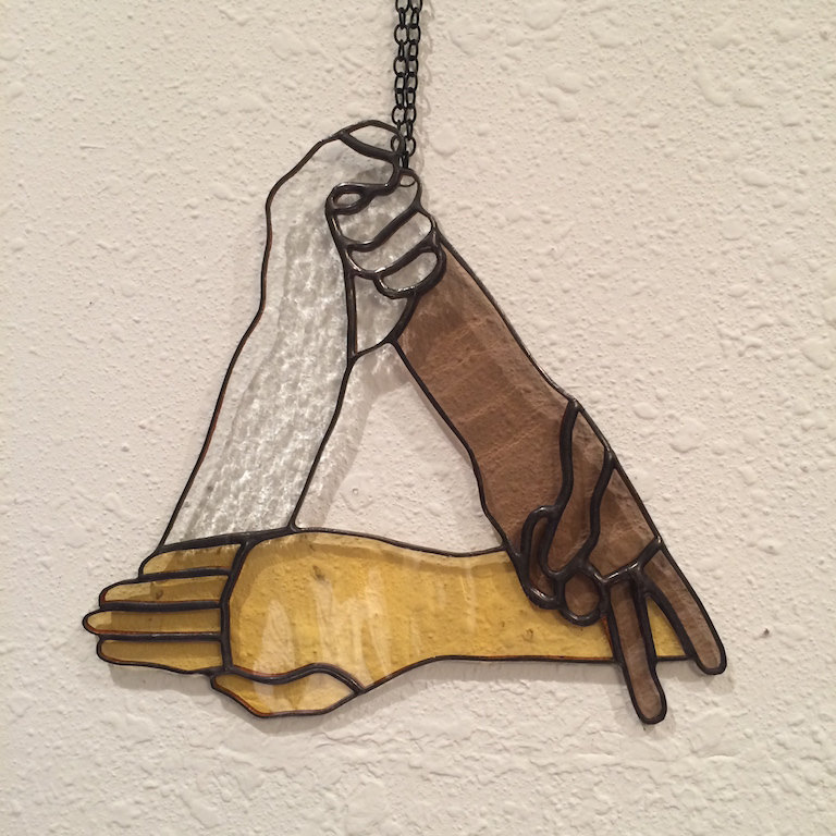 Rock Paper Scissors Stained Glass Hanging Made in Hawaii Deesigns by Harris Free Gift Wrap