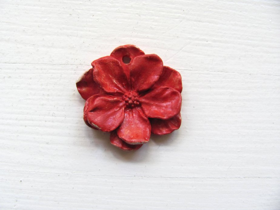 Ceramic Flower---Red--Decoration---Jewelry--Gift--Necklace by AnnaLela