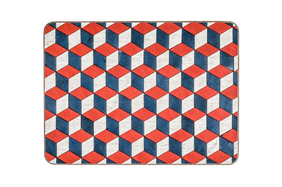 6 Red Placemats Retro placemats Geometric Placemats Art Deco placemats Housewarming Gift Red Place Mat Retro Tablemats Geometric Tablemat by EInderDesigns