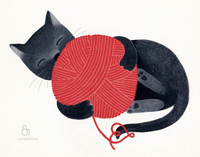 Black cat red yarn cute illustration children decor - The cat print 8 x 11.5 print based on an original illustration by teconlene