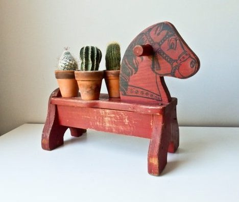 Sale Children's Wood Horse Seat Chair, Red Toy Horse by BeeJayKay