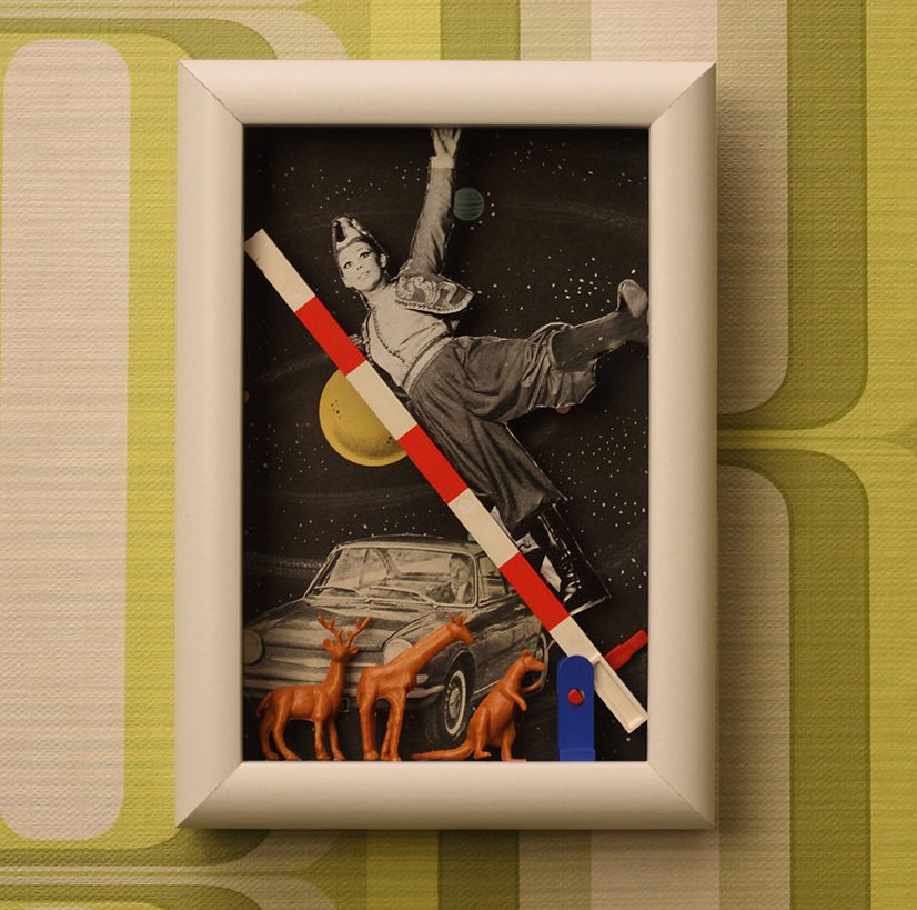 Galactic Highway - Diorama Mixed and Media Collage-One of a Kind shadow box art - 3d Retro Vintage Collage - Decor Wall Art