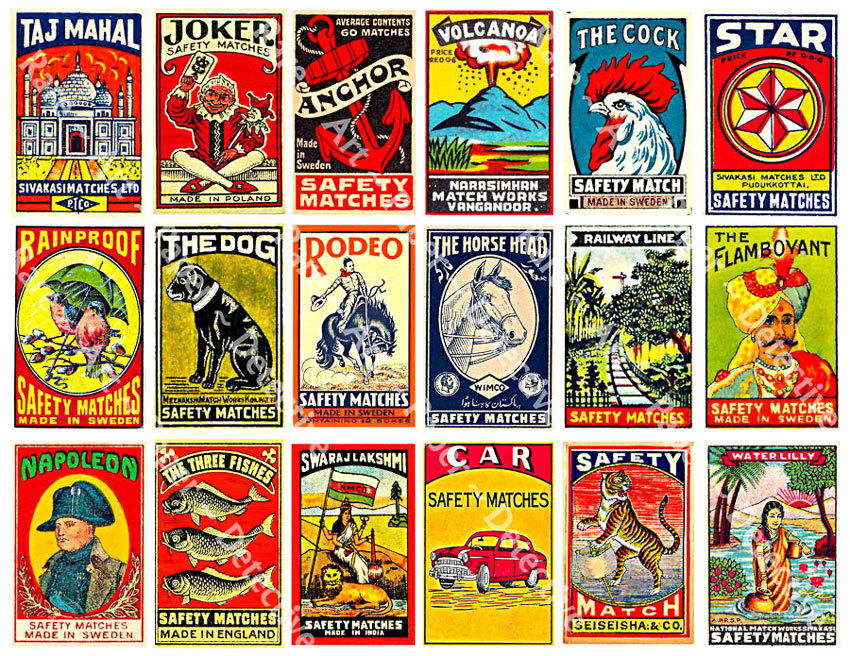 Matchbook and Match Box Labels - 5 Printed Sheets, 95 Antique Reproductions, Matchbox, Asian Art, Matchbook Advertising, Clip Art Paper Pack
