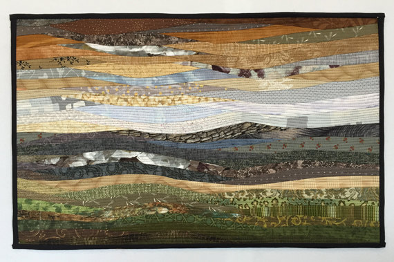 "Quilted wall art. Desert sketch. 16""x26"" Original art. Modern landscape art. Contemporary quilt. Office decor. Southwestern art. Fiber art by AnnBrauer"