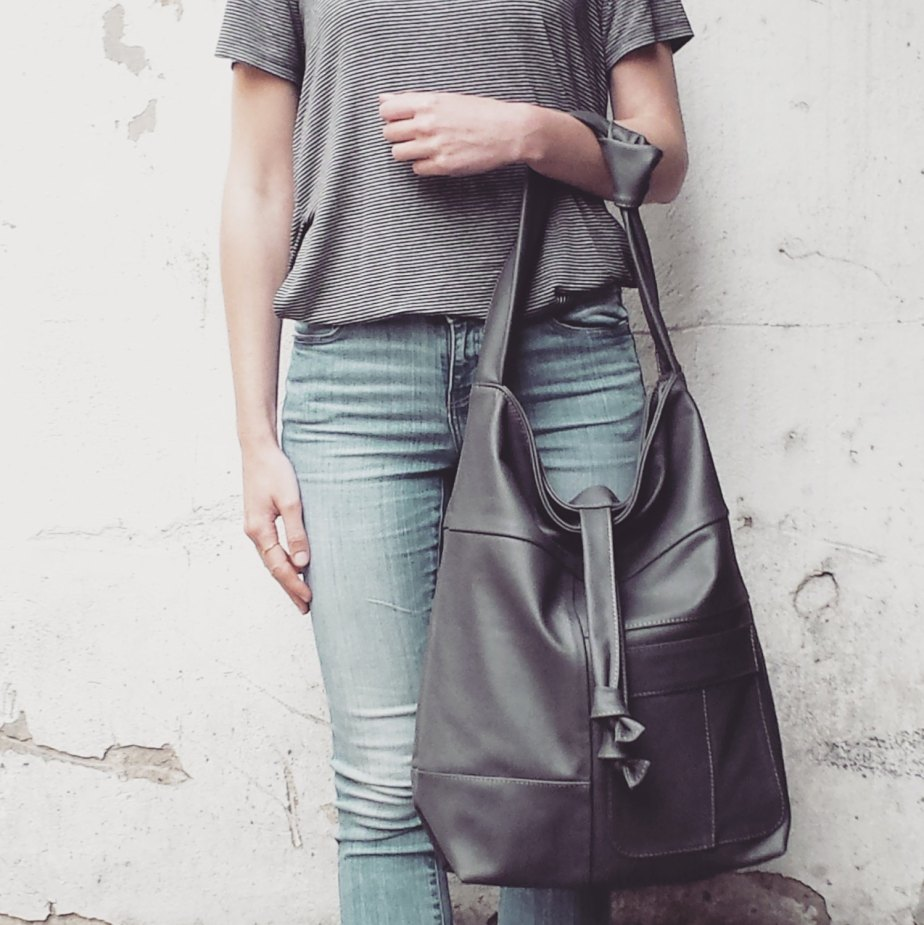 FREE SHIPPING, oversized leather bag, dark grey leather, natural leather, hobo bag, must have, shoulder bag, WILLA Graphite, handmade by BAGSBYLENKA