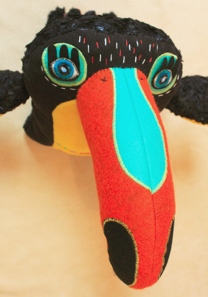 Nelson the toucan, handmade plush bird including pineapple baby toy by StitchedCreatures