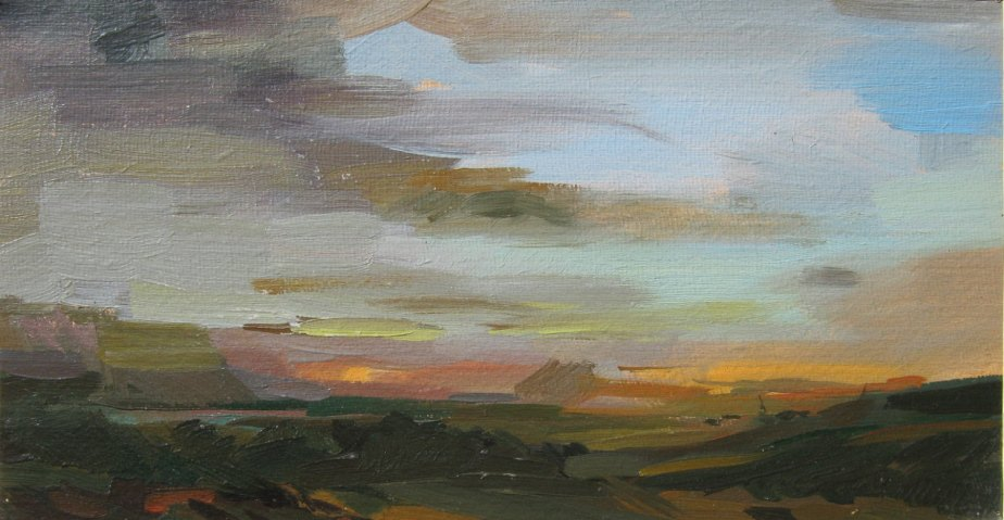 Evening-Art Original Oil Landscape Painting, Vintage by OnTheRiverSeim