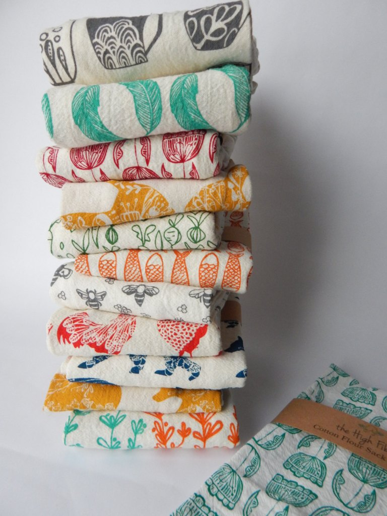 Kitchen Towels, Hand Printed, Choose Your Set of 6, Hostess Gift by TheHighFiber