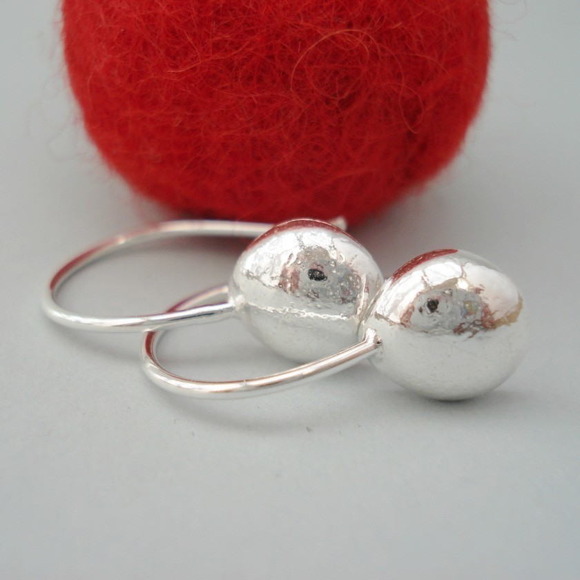 sterling silver drop earrings bright finish- dangle earrings-peeble by lesthings