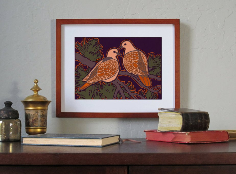 Two Turtle Doves - Fine Art Print - 2 Sizes - Available as an Art Block or a Print with a Free Custom-Cut Mat (PVAL2013028) by tornpaperco