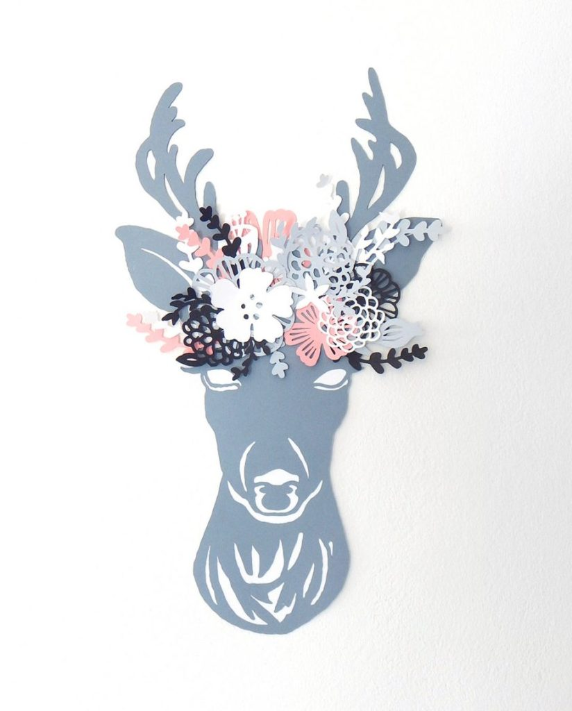 Deer head paper cut. Deer with flowers paper art. Deer paper cutout. Antlers paper cutting. Faux taxidermy paper art. Deer head wall decor. by DecorAsylum