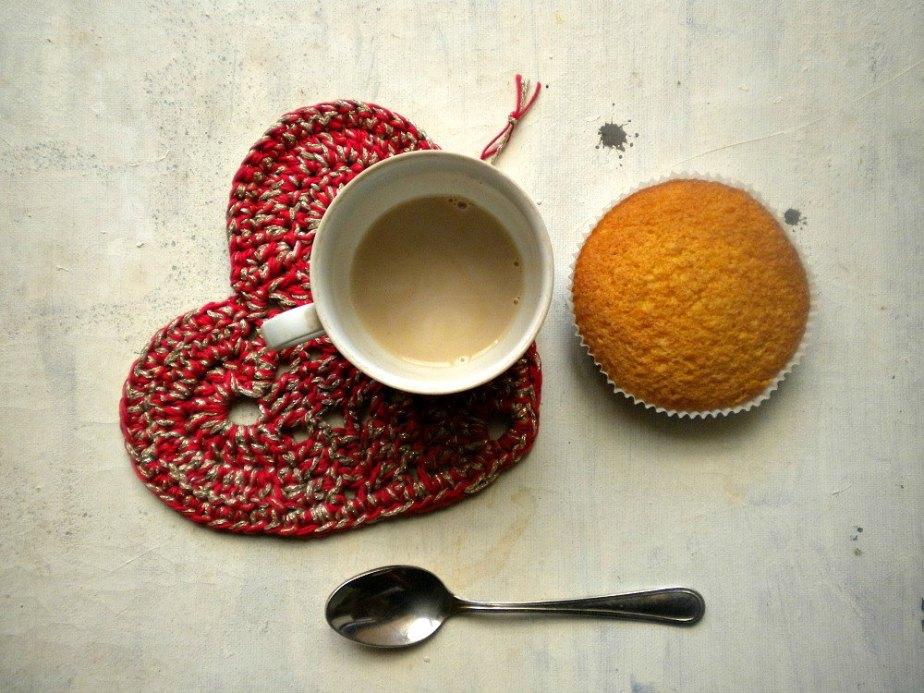 red heart crochet coaster or pot holder in red and golden yarn - valentine gift under 10 by vumap