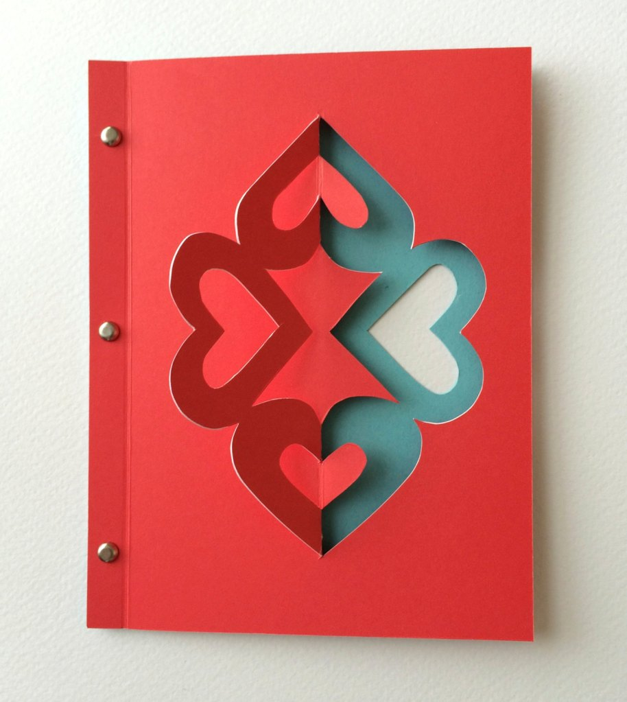 Red Four Heart Card by MayaMetzLogue