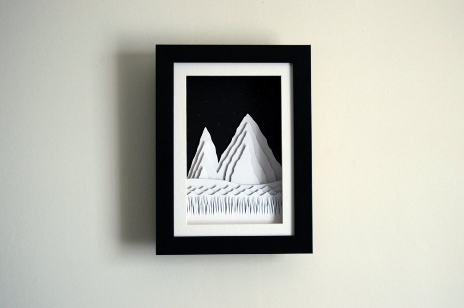 Mountain illustration - paper cut, 3D - Home decor - Papercut - mountain Illustration - framed - abstract - wall art by littlemountainsshop
