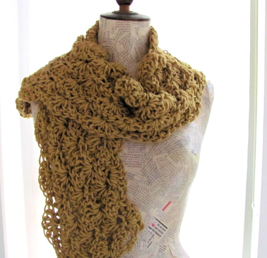 Handknitted scarf for women mustard yellow -- flowers--Soft and cozy- 100percent Cotton--christmas gift--Valentine's Day by AnnaLela