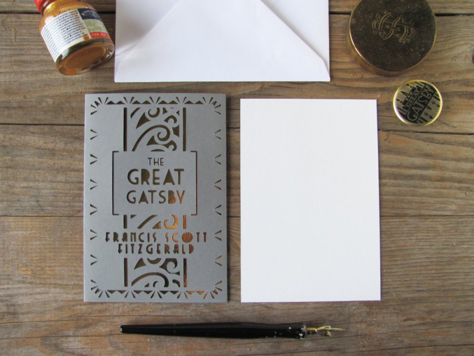 The Great Gatsby cut out card with matching envelope. Art Deco style by PemberleyPond