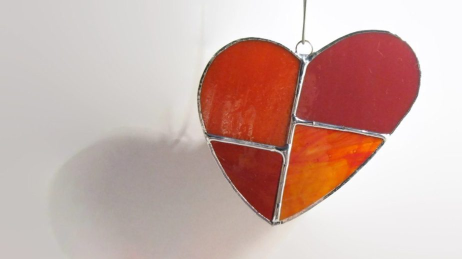 Red Glass Love Heart Stained Glass Sun Catcher, Cute Heart Ornament, Valentines Day Decor, Gifts, Geometric, Window Ornament by glassDaisys