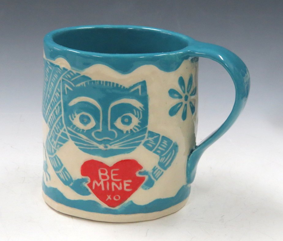 Valentine's Day - Sgraffito CAT MUG Art Pottery,Runaway Mouse - Turquoise LOVE Note,Coffee Tea Cup Mug - Mexican Folk Art Inspired by TheClayBungalow